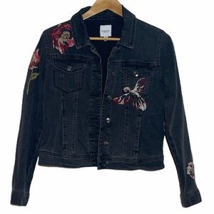 Kensie Womens Jean Jacket With Floral Embroidery